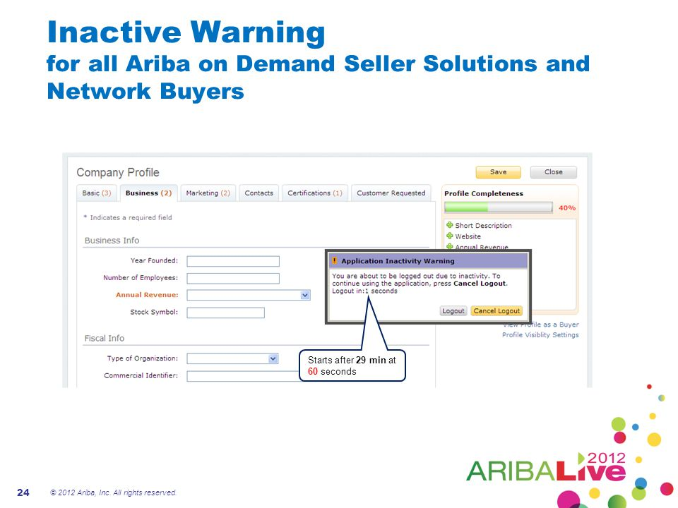 Inactive Warning for all Ariba on Demand Seller Solutions and Network Buyers © 2012 Ariba, Inc.