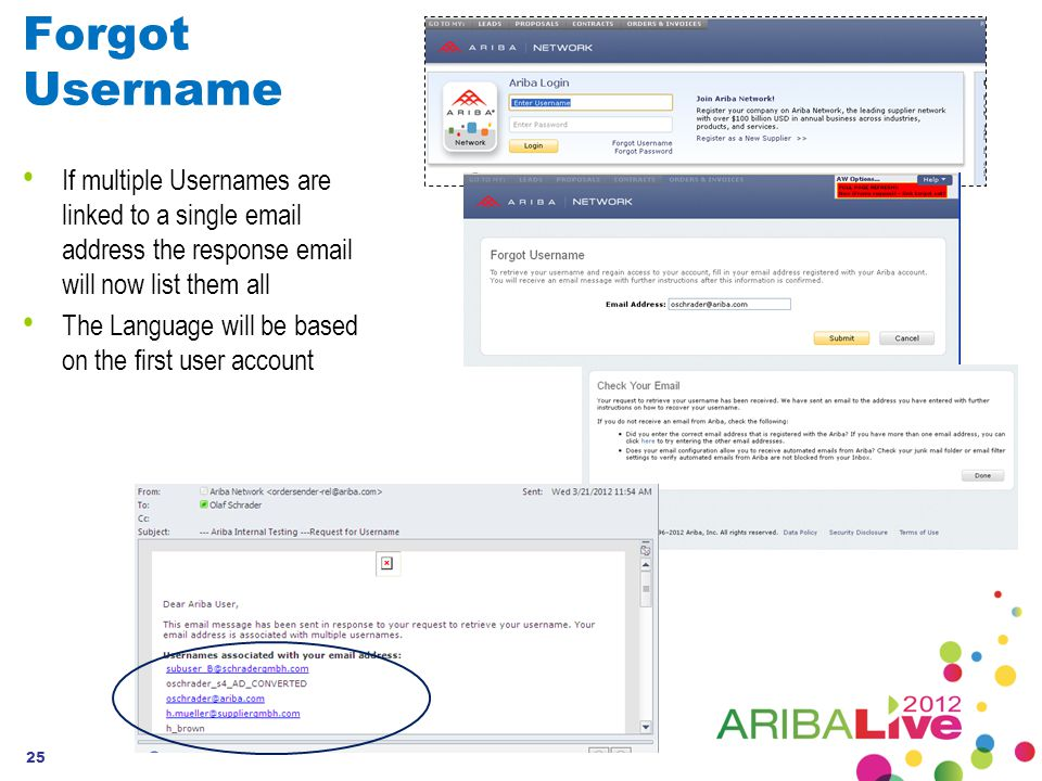 Forgot Username If multiple Usernames are linked to a single email address the response email will now list them all The Language will be based on the first user account 25