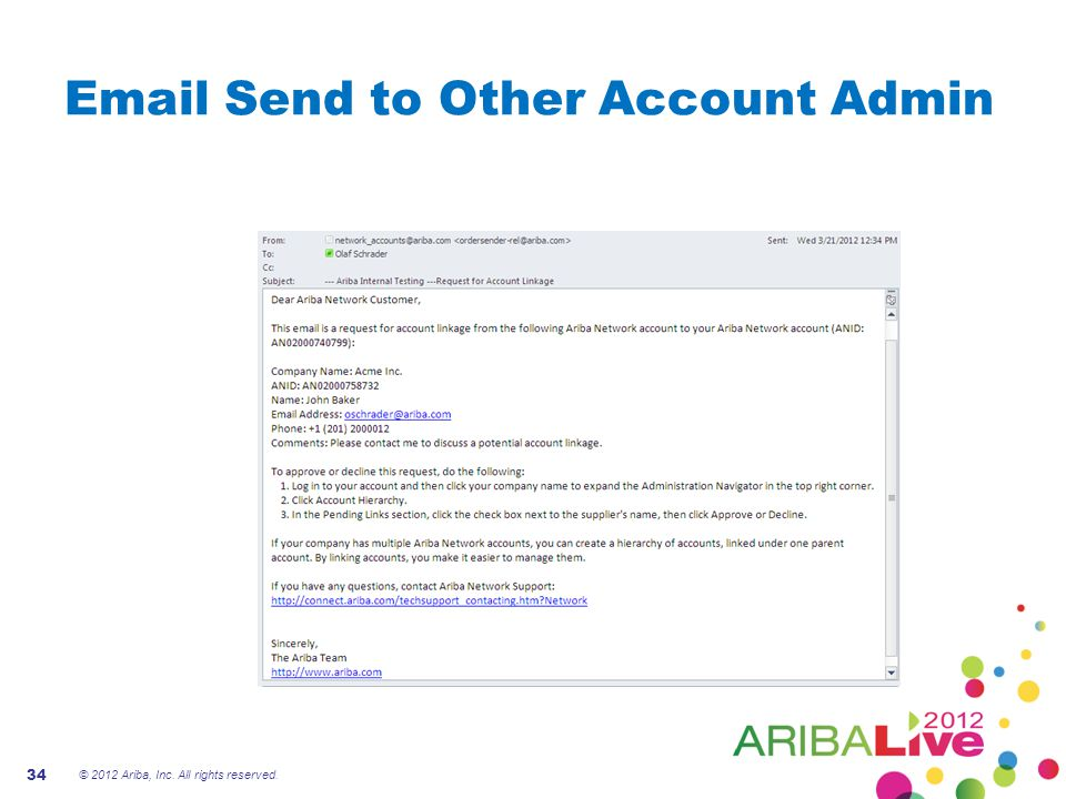Email Send to Other Account Admin © 2012 Ariba, Inc. All rights reserved. 34