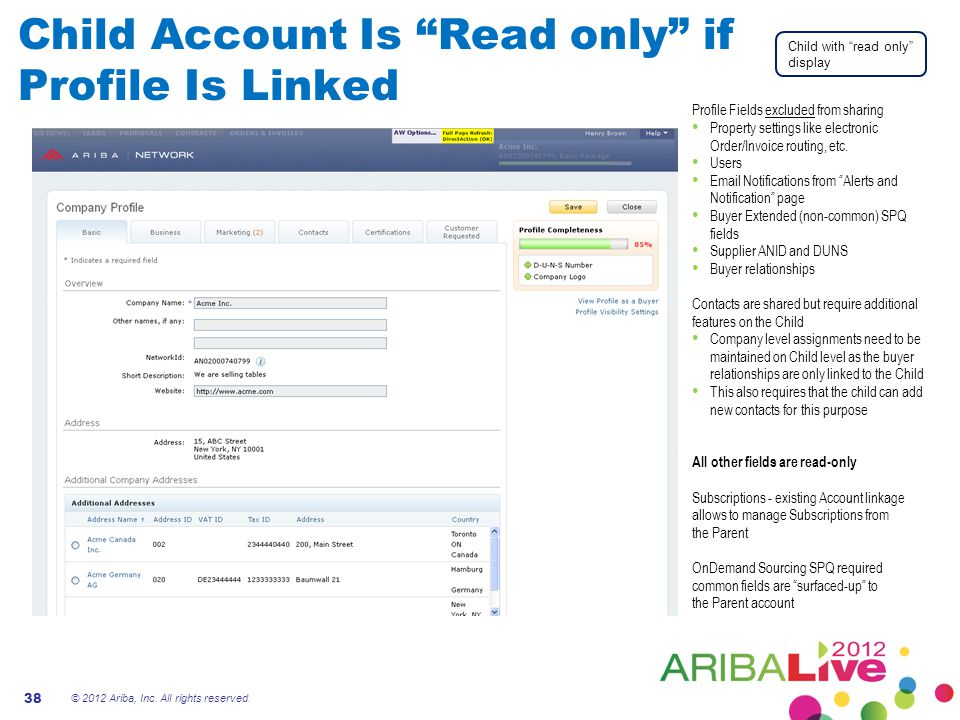 Child Account Is Read only if Profile Is Linked © 2012 Ariba, Inc.