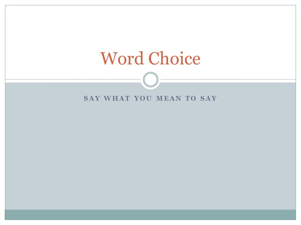 SAY WHAT YOU MEAN TO SAY Word Choice