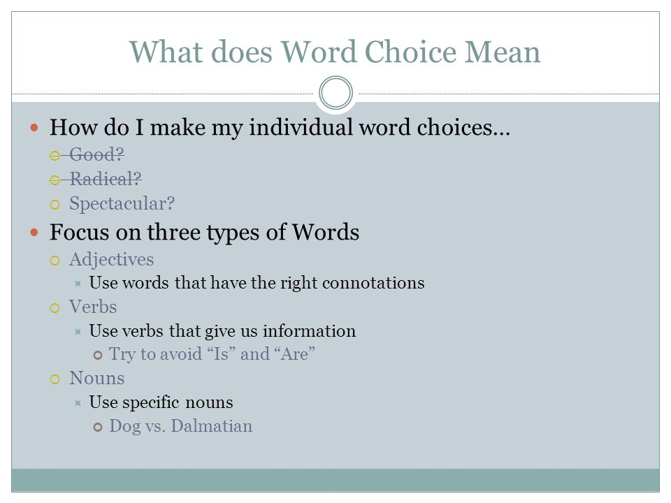 What does Word Choice Mean How do I make my individual word choices…  Good.