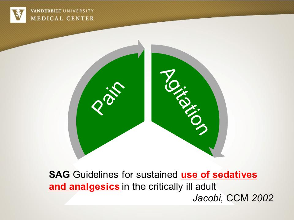 Agitation Pain Delirium SAG Guidelines for sustained use of sedatives and analgesics in the critically ill adult Jacobi, CCM 2002