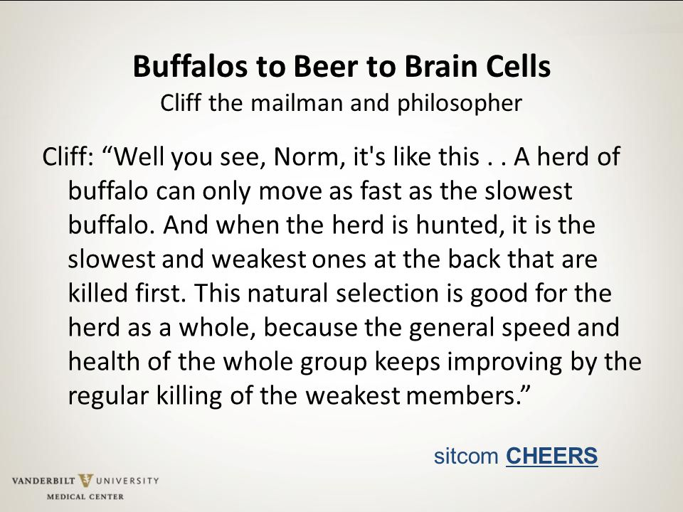 """Buffalos to Beer to Brain Cells Cliff the mailman and philosopher Cliff: """"Well you see, Norm, it's like this.. A herd of buffalo can only move as fast"""