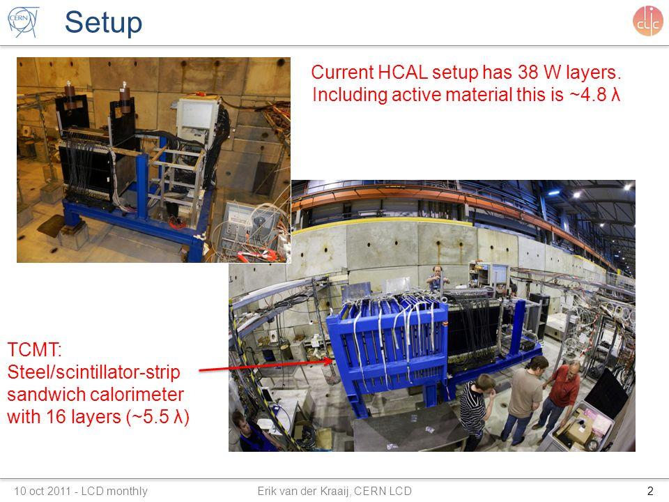 Setup 10 oct 2011 - LCD monthly Erik van der Kraaij, CERN LCD2 TCMT: Steel/scintillator-strip sandwich calorimeter with 16 layers (~5.5 λ) Current HCAL setup has 38 W layers.
