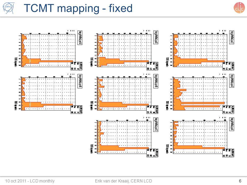 TCMT mapping - fixed 10 oct 2011 - LCD monthly Erik van der Kraaij, CERN LCD6