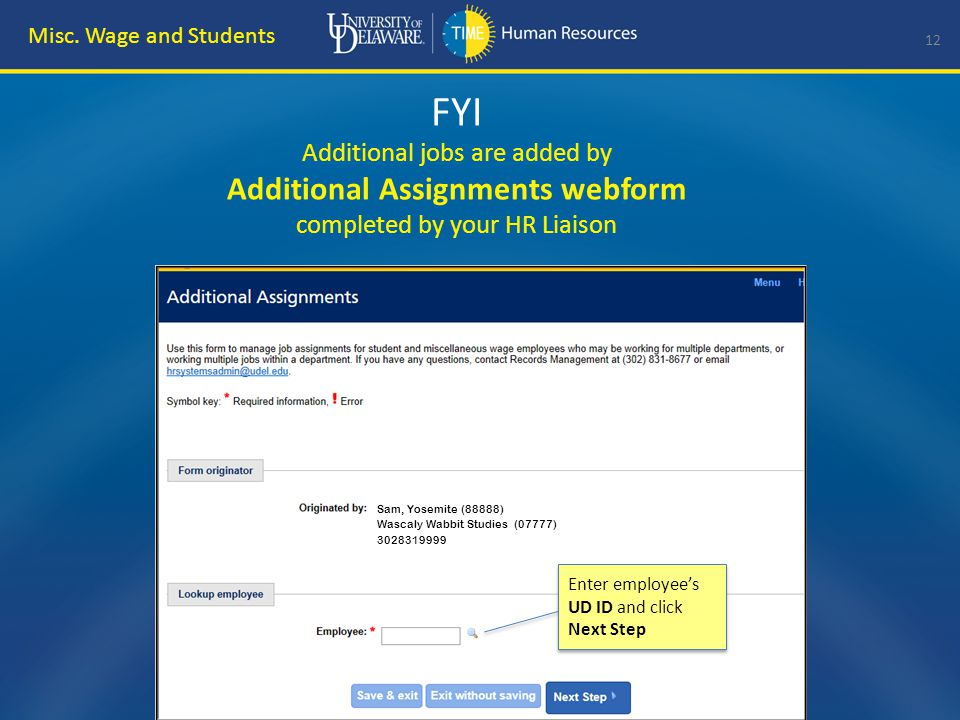 FYI Additional Assignments webform 13 Misc.
