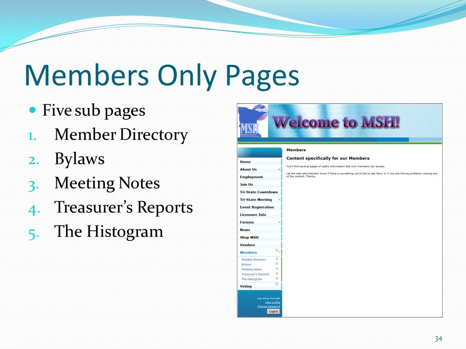 Members Only Pages Five sub pages 1. Member Directory 2.