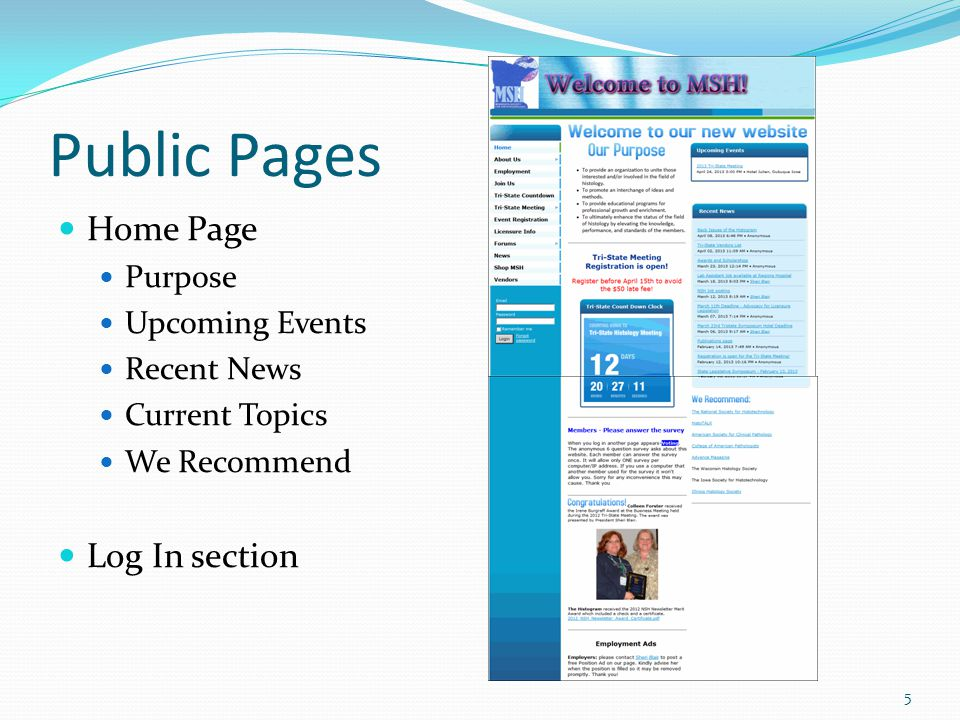 Public Pages Home Page Purpose Upcoming Events Recent News Current Topics We Recommend Log In section 5