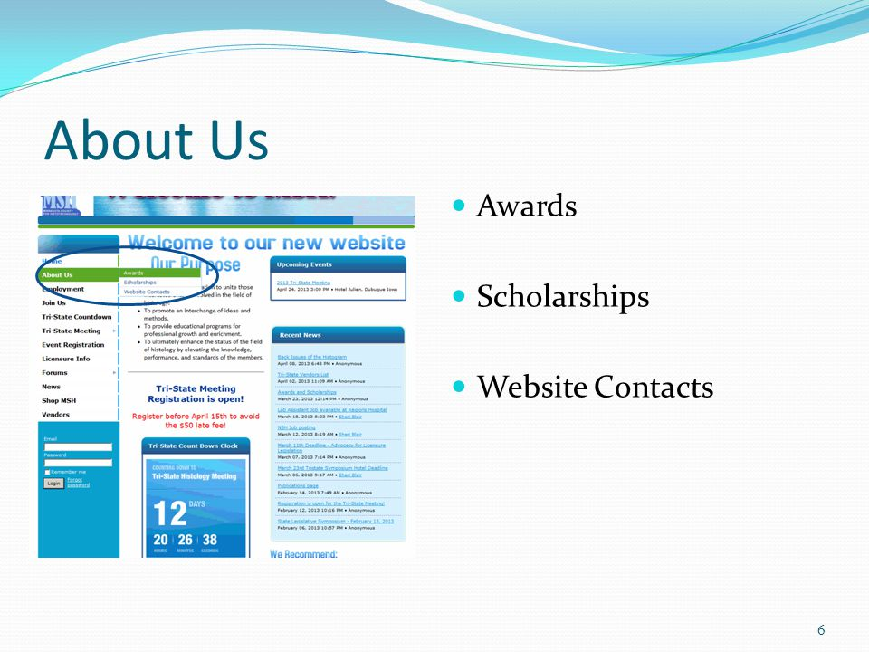 About Us Awards Scholarships Website Contacts 6