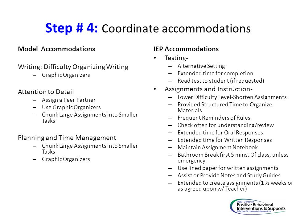 Step # 4: Coordinate accommodations Model Accommodations Writing: Difficulty Organizing Writing – Graphic Organizers Attention to Detail – Assign a Pe