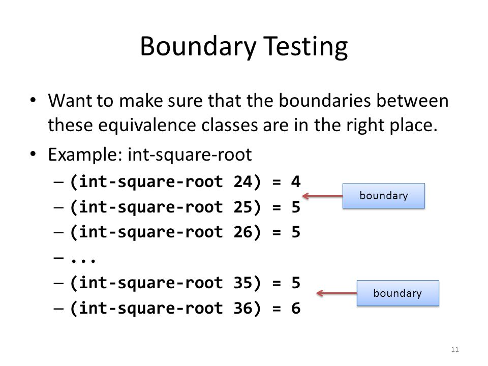 Boundary Testing Want to make sure that the boundaries between these equivalence classes are in the right place.