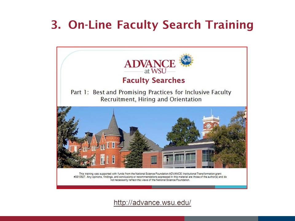 3. On-Line Faculty Search Training http://advance.wsu.edu/
