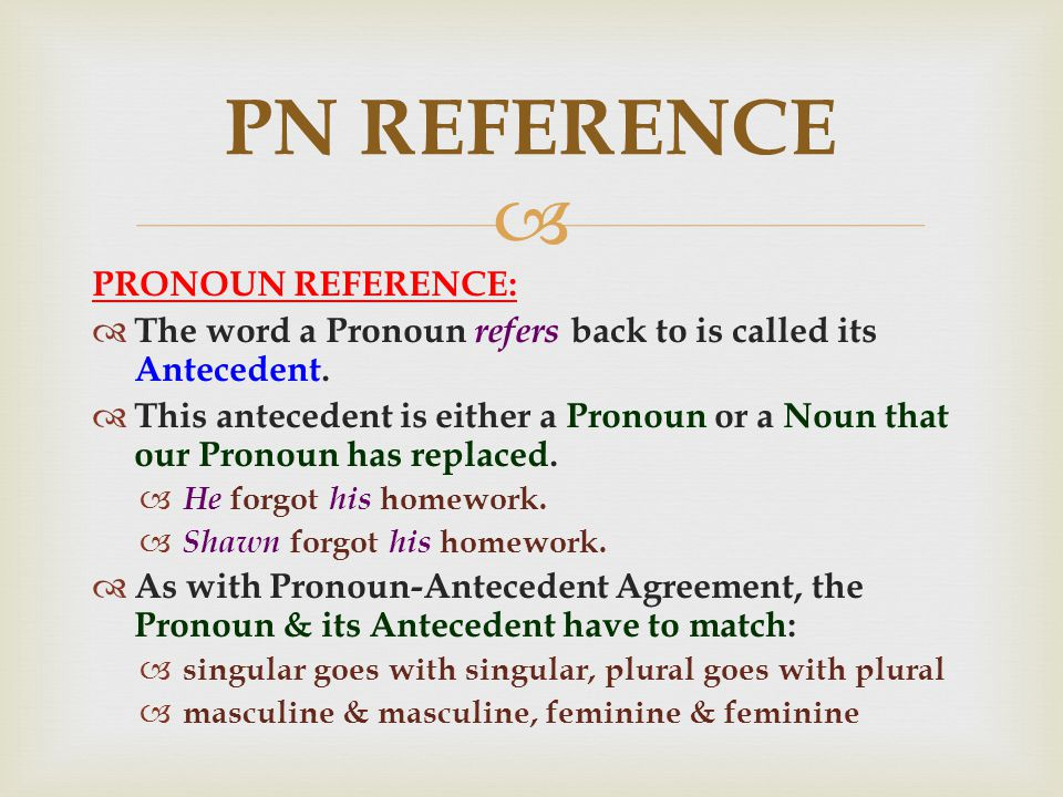  PRONOUN REFERENCE:  The word a Pronoun refers back to is called its Antecedent.
