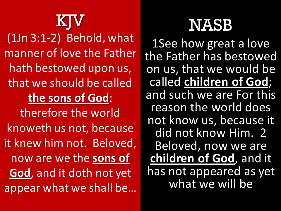 NASB children of God children of God 1See how great a love the Father has bestowed on us, that we would be called children of God; and such we are For this reason the world does not know us, because it did not know Him.