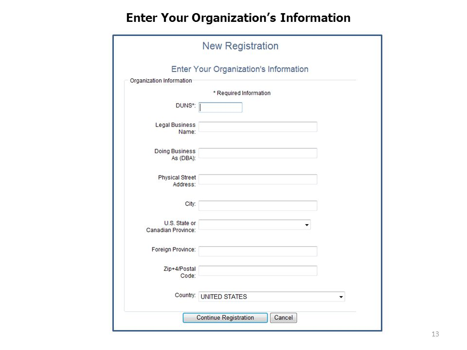 13 Enter Your Organization's Information