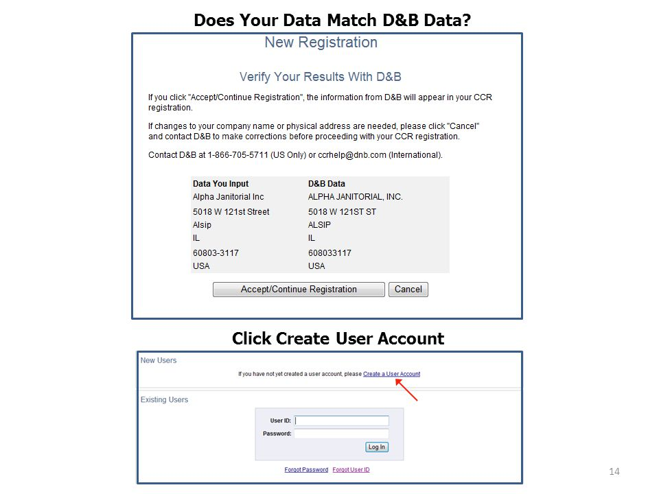 14 Does Your Data Match D&B Data Click Create User Account