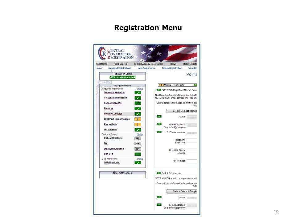 Registration Menu 19