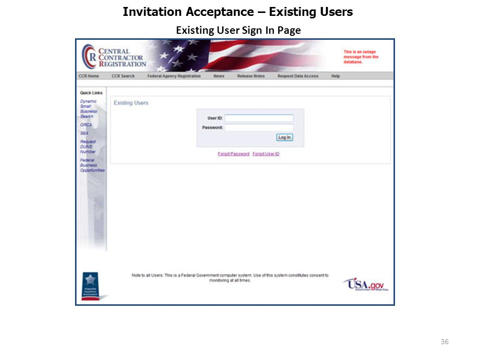36 Invitation Acceptance – Existing Users Existing User Sign In Page