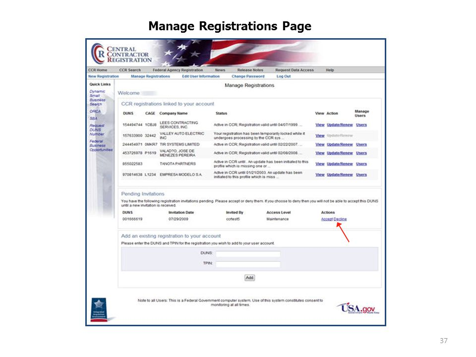 37 Manage Registrations Page