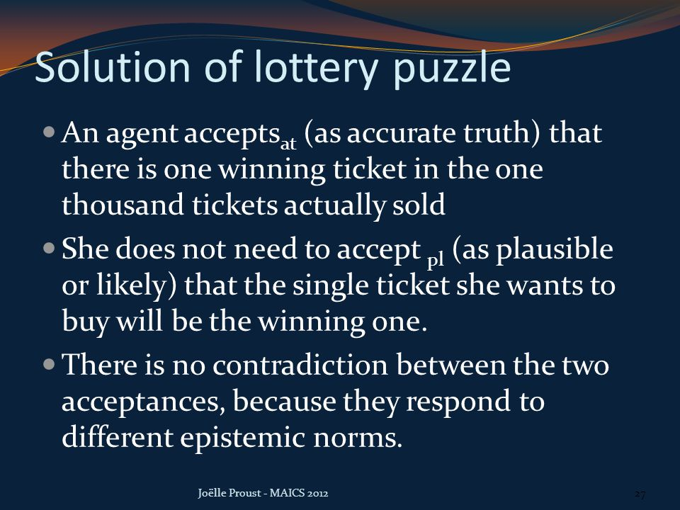 Solution of lottery puzzle An agent accepts at (as accurate truth) that there is one winning ticket in the one thousand tickets actually sold She does not need to accept pl (as plausible or likely) that the single ticket she wants to buy will be the winning one.