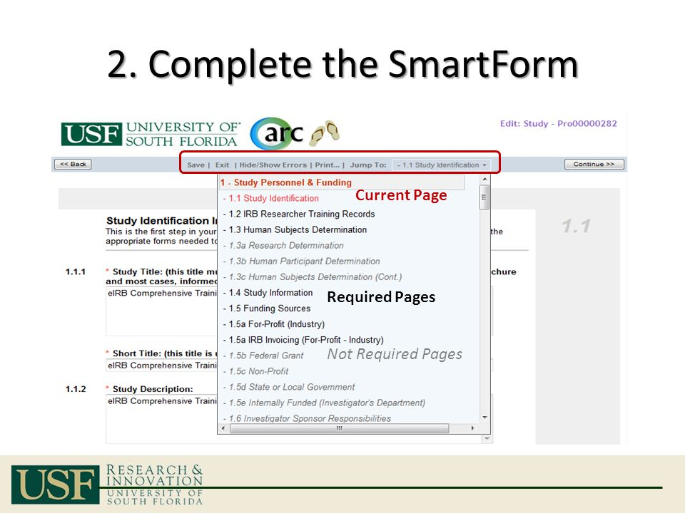 2. Complete the SmartForm Current Page Required Pages Not Required Pages
