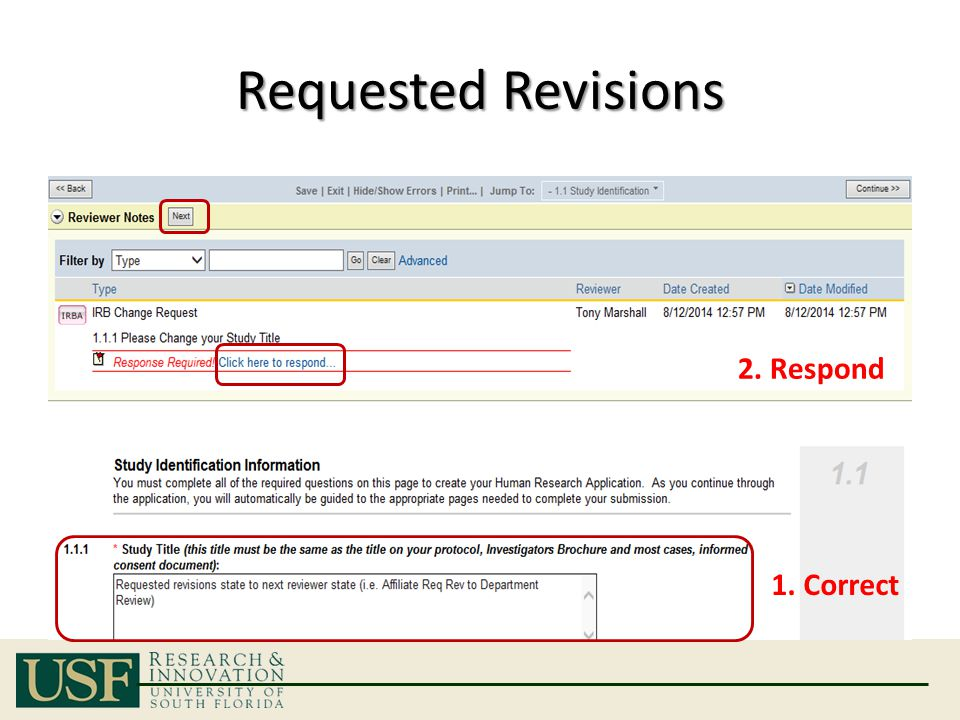 Requested Revisions 1. Correct 2. Respond