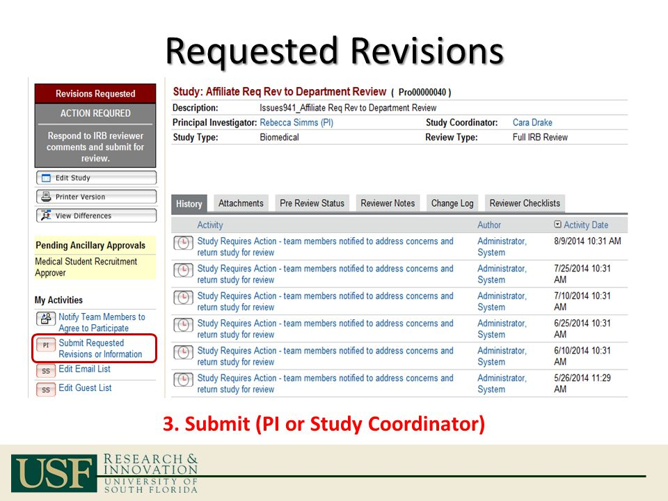 Requested Revisions 3. Submit (PI or Study Coordinator)