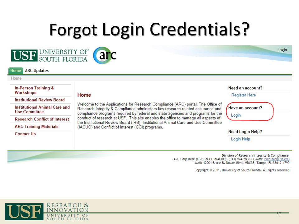 Forgot Login Credentials? 37