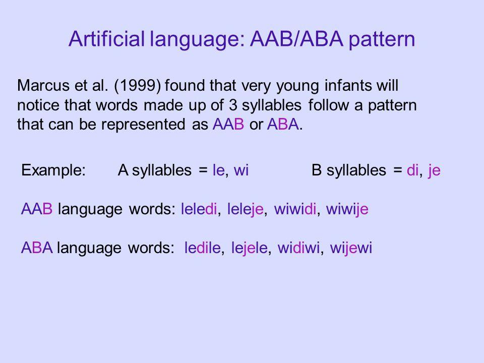 Artificial language: AAB/ABA pattern Marcus et al.