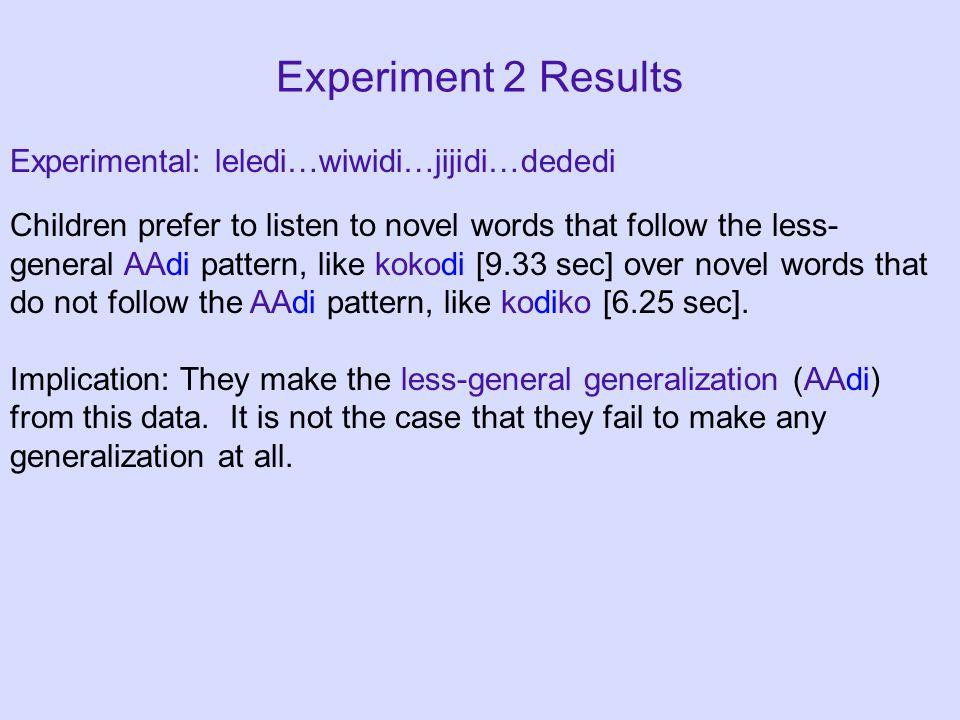 Experiment 2 Results Experimental: leledi…wiwidi…jijidi…dededi Children prefer to listen to novel words that follow the less- general AAdi pattern, like kokodi [9.33 sec] over novel words that do not follow the AAdi pattern, like kodiko [6.25 sec].