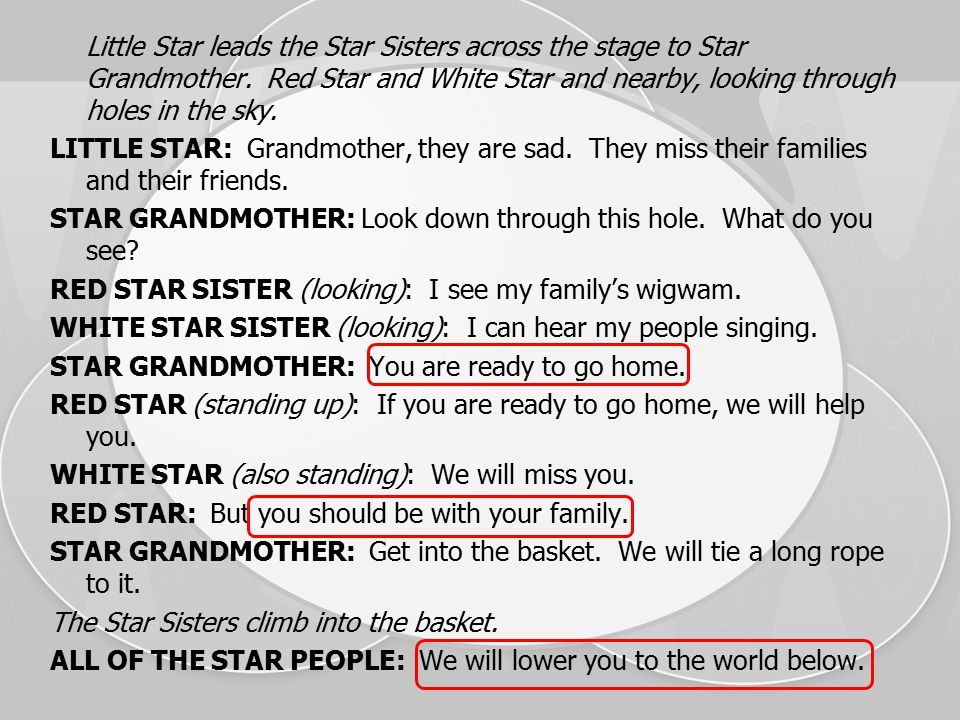 Little Star leads the Star Sisters across the stage to Star Grandmother.