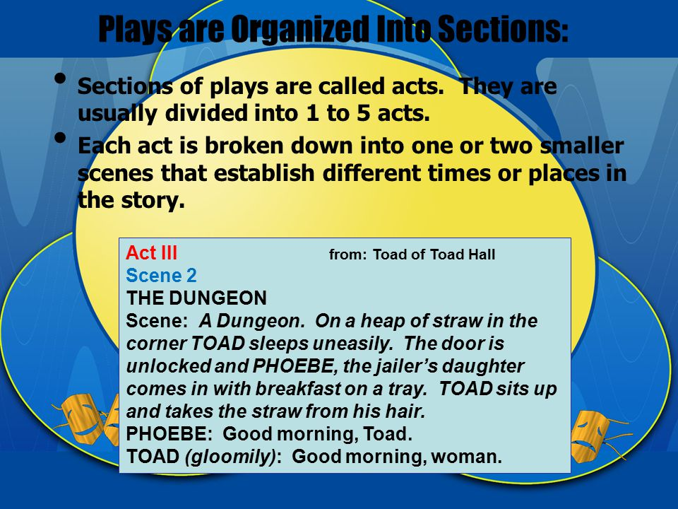 Plays are Organized Into Sections: Sections of plays are called acts.