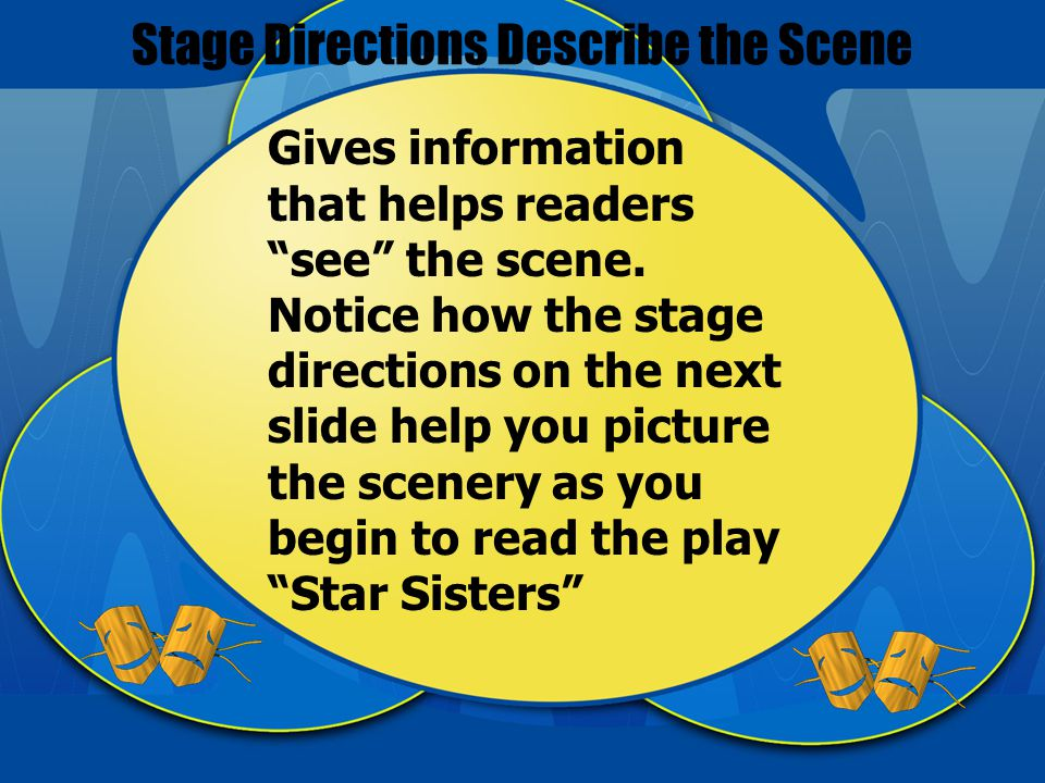 Stage Directions Describe the Scene Gives information that helps readers see the scene.