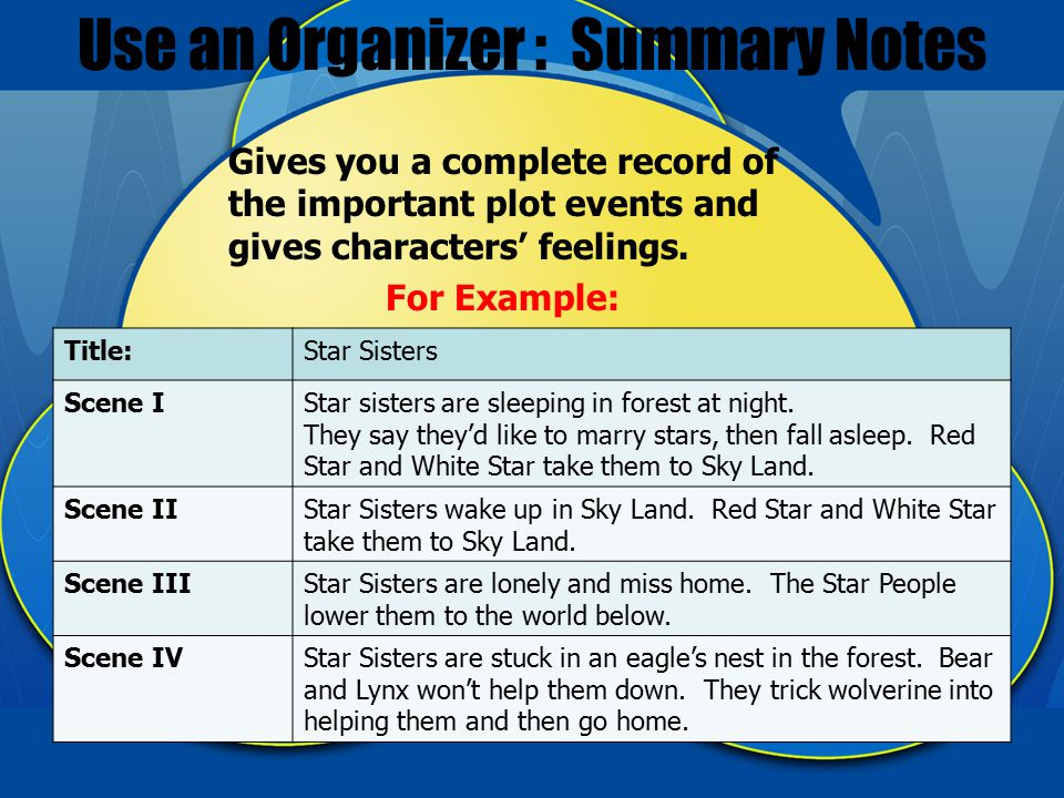 Use an Organizer : Summary Notes Gives you a complete record of the important plot events and gives characters' feelings.