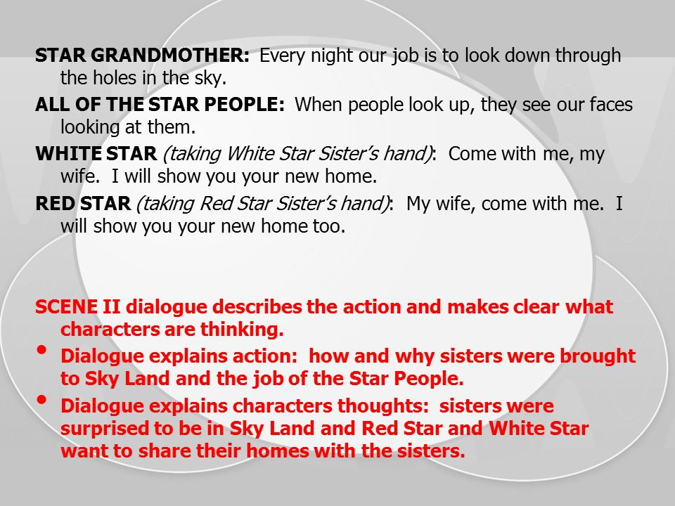 STAR GRANDMOTHER: Every night our job is to look down through the holes in the sky.