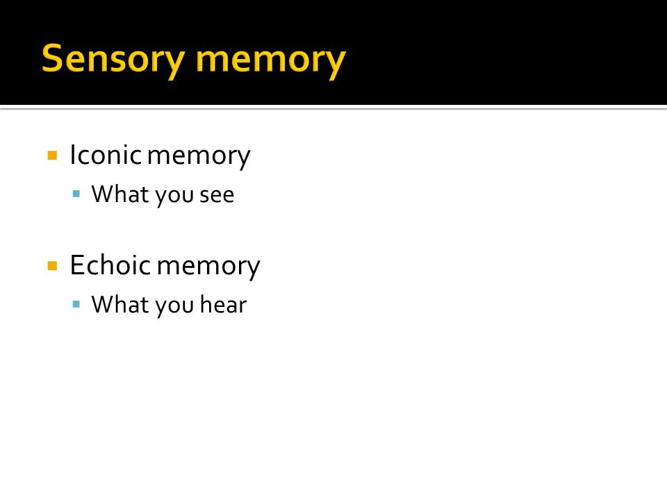  Iconic memory  What you see  Echoic memory  What you hear