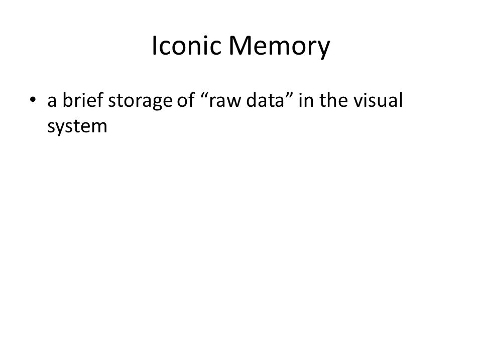 Iconic Memory a brief storage of raw data in the visual system