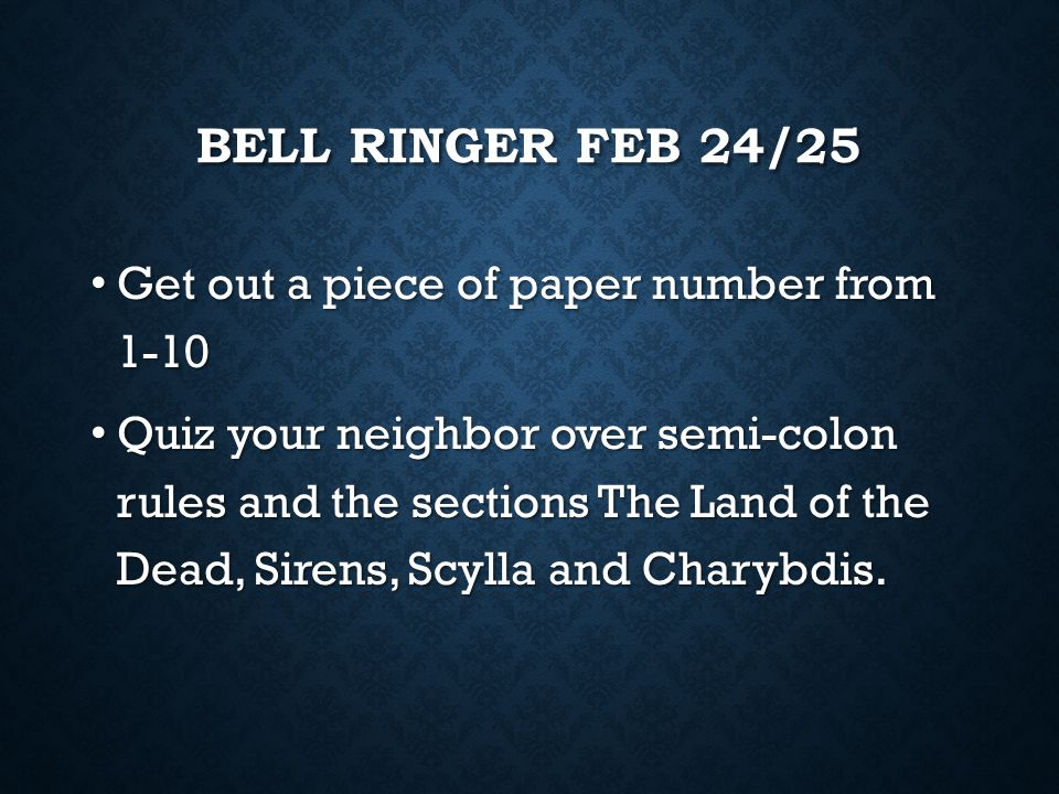 BELL RINGER 20/23 Get a partner and an envelope. Get a partner and an envelope. Put together the sentences correctly using the semi-colon. Put togethe