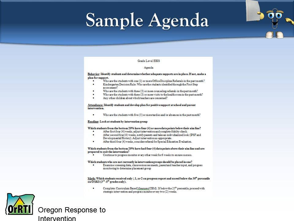 Oregon Response to Intervention Sample Agenda