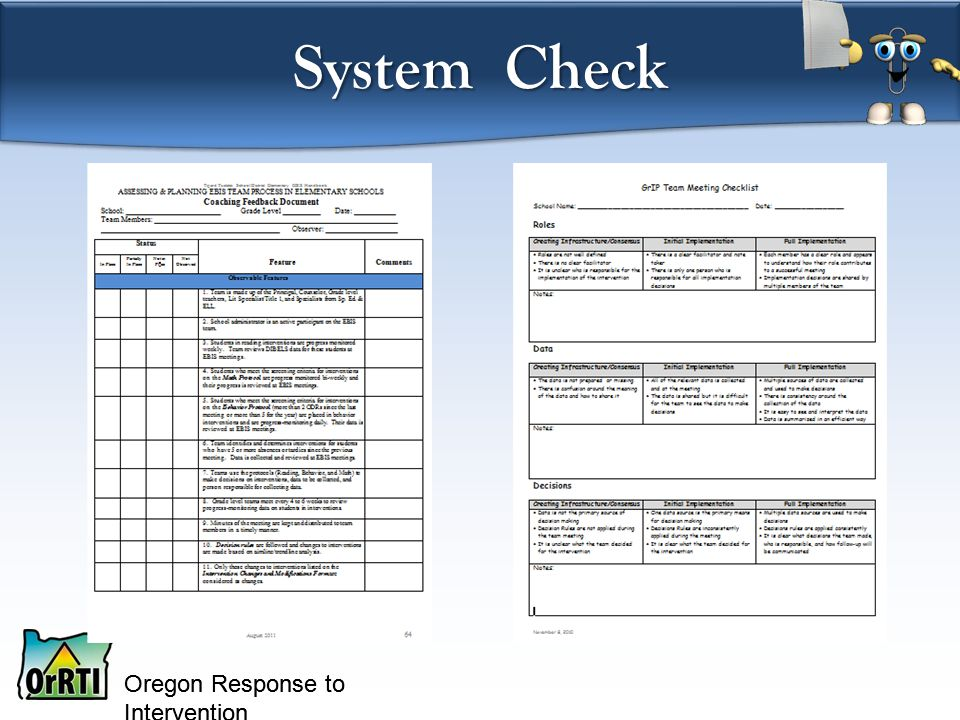 Oregon Response to Intervention System Check