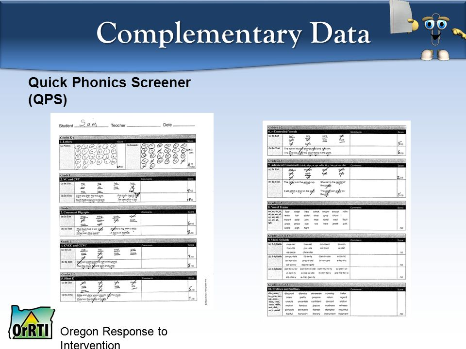 Oregon Response to Intervention Quick Phonics Screener (QPS) Complementary Data