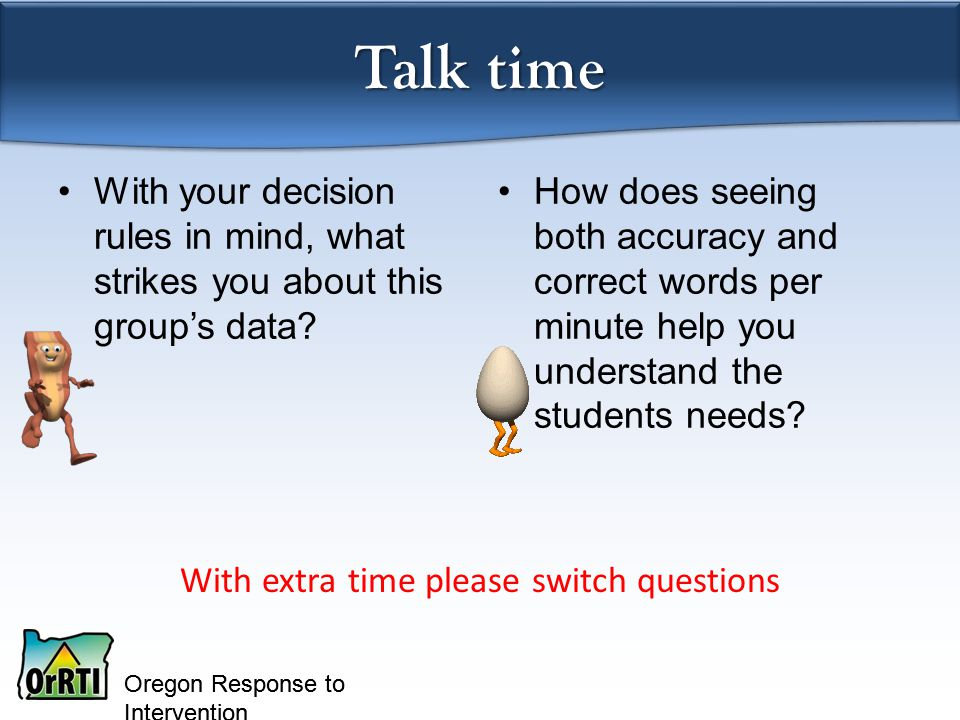 Oregon Response to Intervention With your decision rules in mind, what strikes you about this group's data.