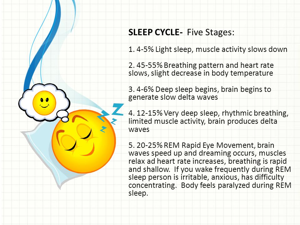 SLEEP CYCLE- Five Stages: 1. 4-5% Light sleep, muscle activity slows down 2. 45-55% Breathing pattern and heart rate slows, slight decrease in body te