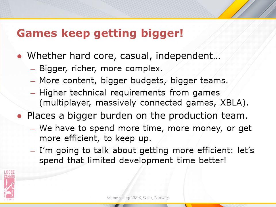 Games keep getting bigger! ●Whether hard core, casual, independent… – Bigger, richer, more complex. – More content, bigger budgets, bigger teams. – Hi