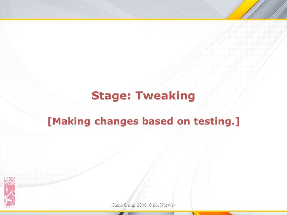 Stage: Tweaking [Making changes based on testing.] Game Camp 2008, Oslo, Norway
