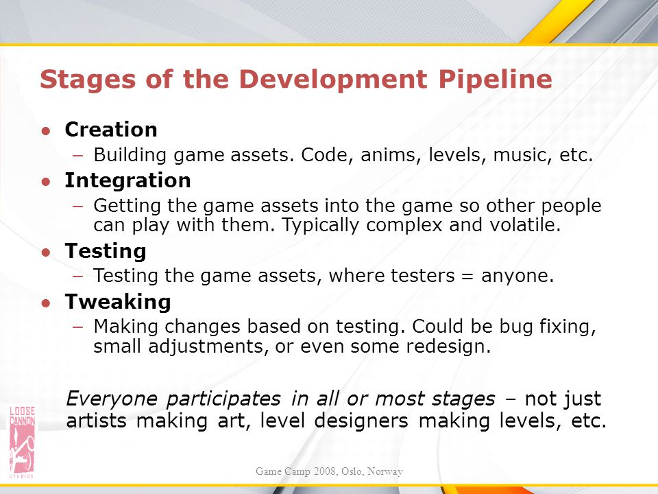 Stages of the Development Pipeline ●Creation – Building game assets. Code, anims, levels, music, etc. ●Integration – Getting the game assets into the