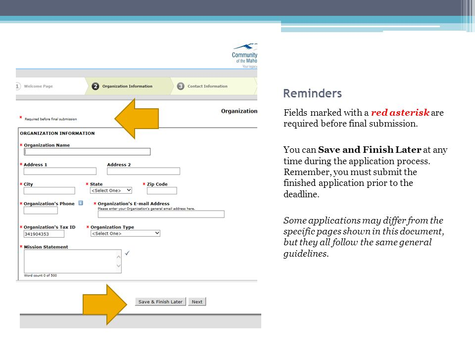 Reminders Fields marked with a red asterisk are required before final submission.