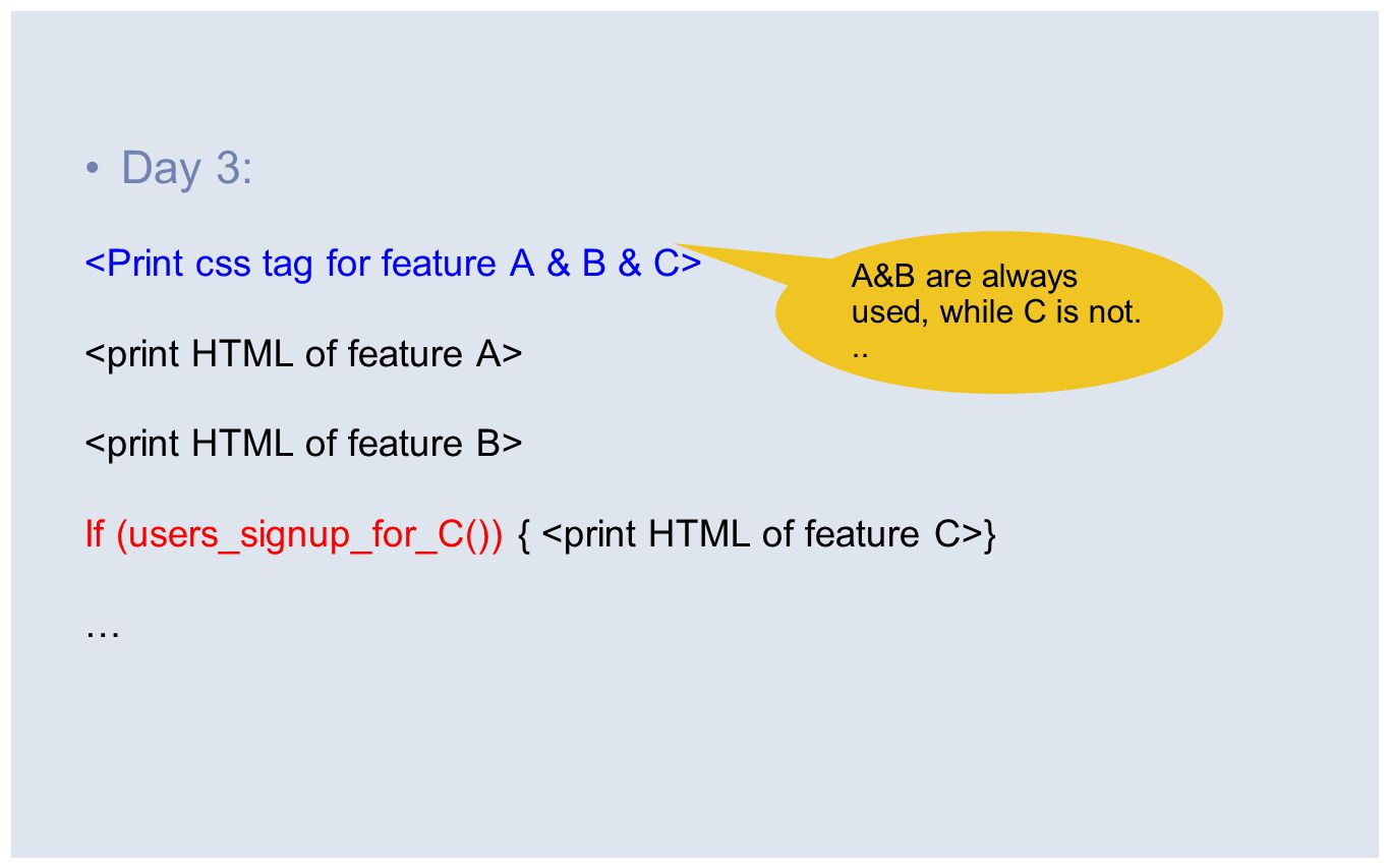 Day 3: If (users_signup_for_C()) { } … A&B are always used, while C is not...
