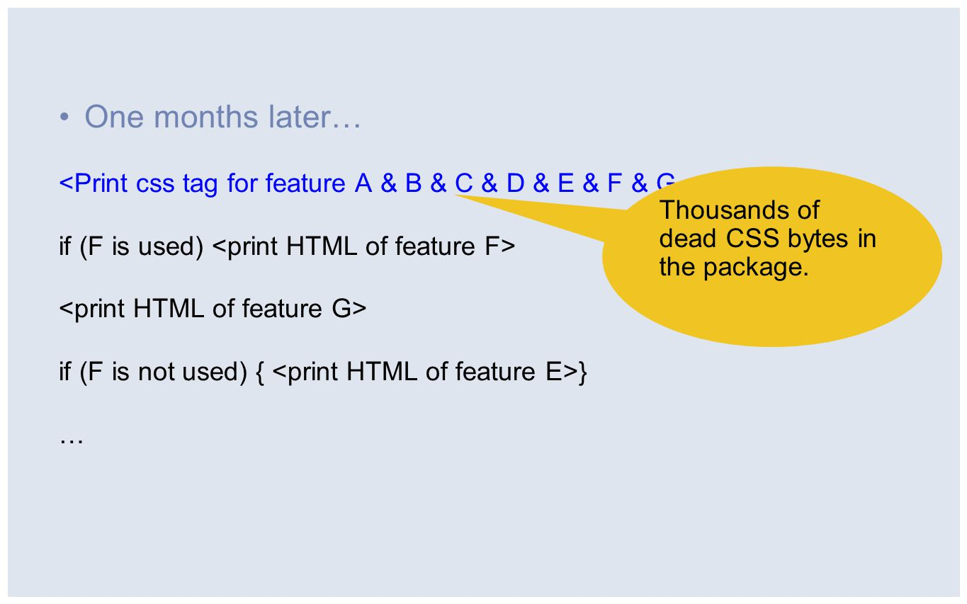 One months later… if (F is used) if (F is not used) { } … Thousands of dead CSS bytes in the package.